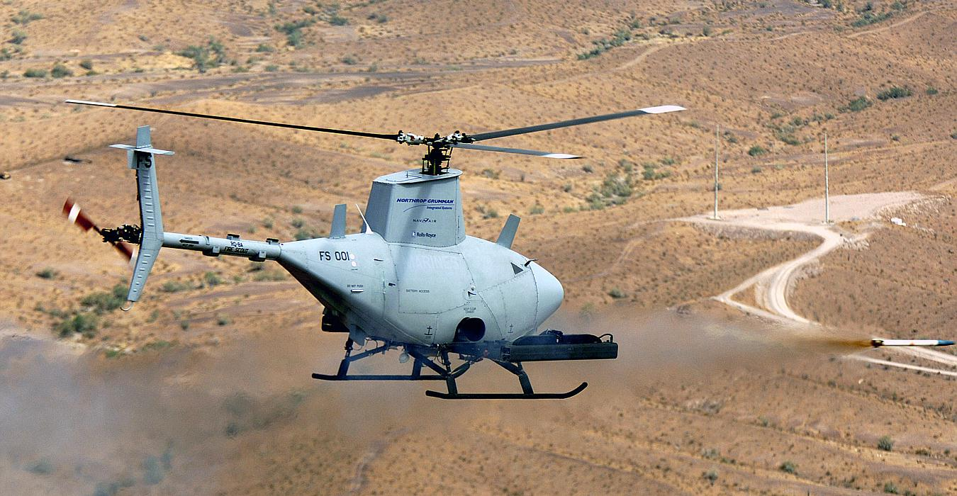 Northrop Grummans RQ 8A Fire Scout Vertical Takeoff And Landing Tactical Unmanned Aerial Vehicle VTUAV Test Fires The Second Of Two Mark MK 66