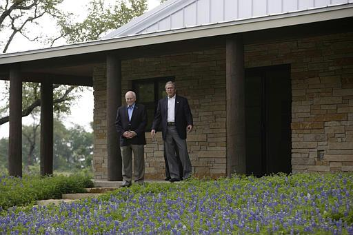 President George W Bush And Vice Cheney Await The Arrival Of Saudi Crown Prince Abdullah At S Ranch In Crawford Texas April 25 2005