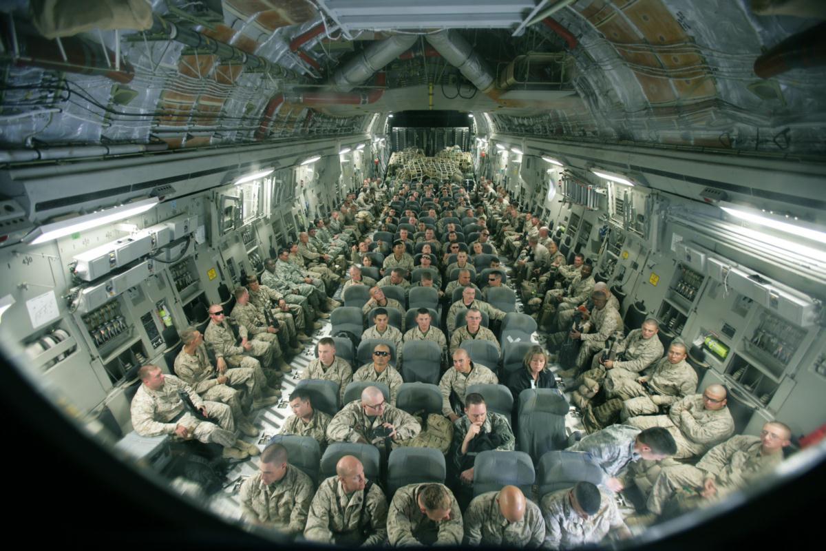 aboard a C-17 Globemaster  C 17 Interior