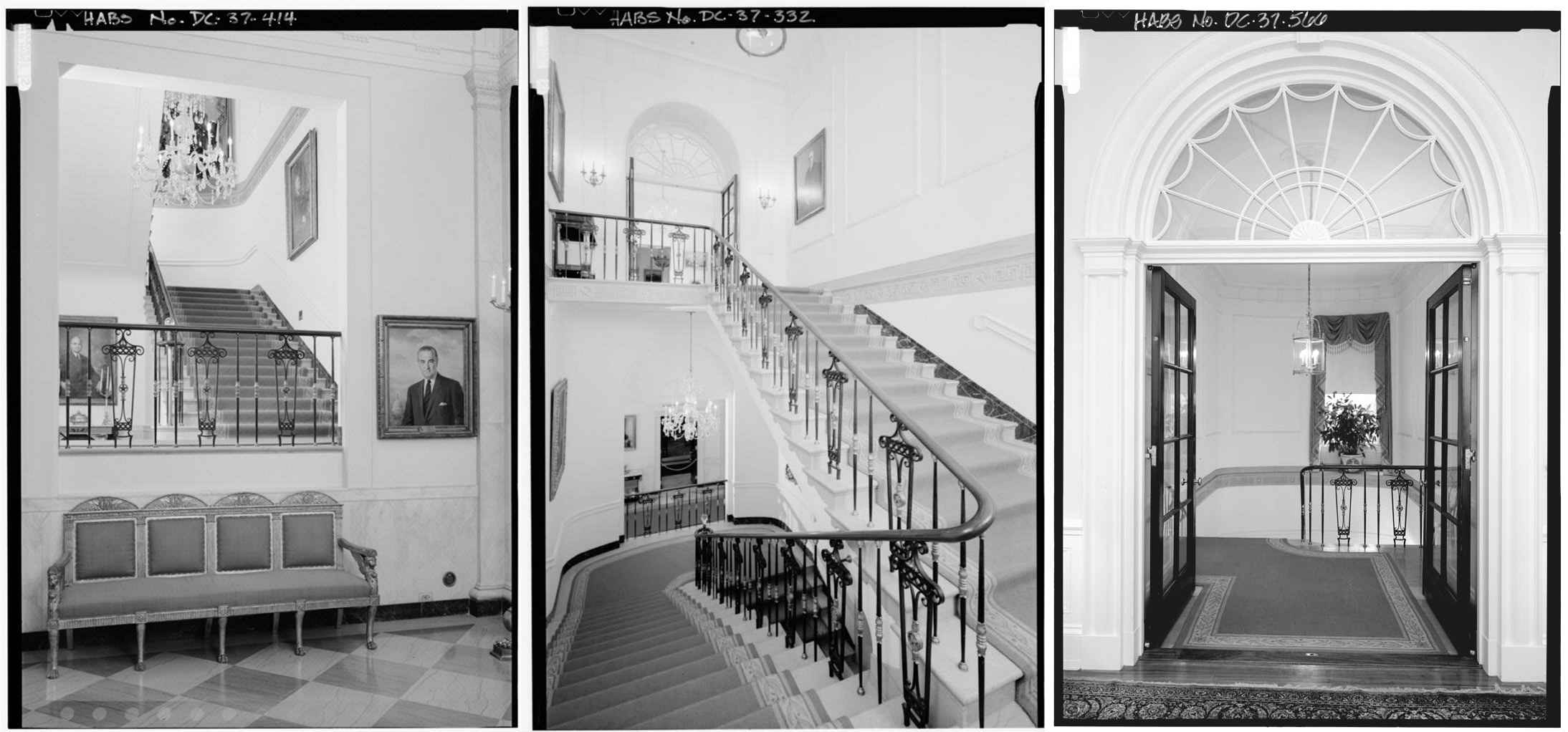 Eyeballing the White House Presidential ResidenceGrand Stair from First Floor to Second Floor  Looking North  left   Looking South  middle   Looking North from the Seconf Floor Central Hall  right