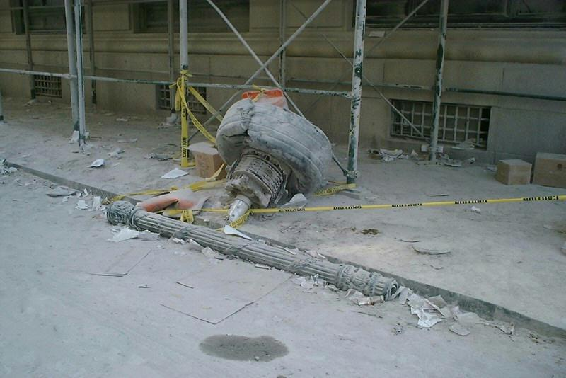 Aircraft Wheel Punches Out A Steel Wall Section Of Wtc